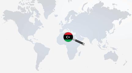 Libya flag in magnifying glass. vector illustration