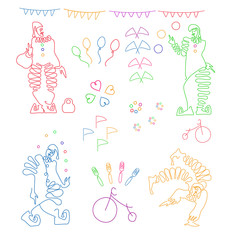 Set of color linear illustrations of four clowns and circus attributes. Vector isolated.