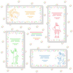 Set. Color linear illustration of clowns and circus attributes. Template of cards.Vector isolated.