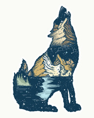 Wolf double exposure. Tattoo and t-shirt design. Symbol tourism, travel, adventure, outdoor