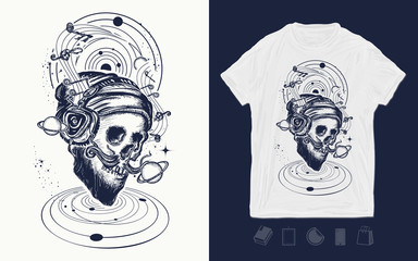 Human skull and universe. Music print for t-shirts and another, trendy apparel design