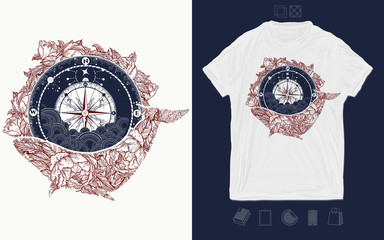 Whale and compass. Print for t-shirts and another, trendy apparel design. Travel, adventure, outdoors symbo