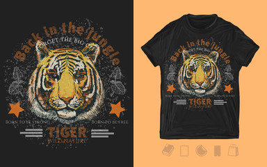 Tiger head. Back in the jungle print for t-shirts and another, trendy apparel design