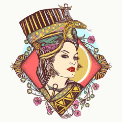 Egyptian goddess. Tattoo and t-shirt design. Ancient Egypt queen Nefertiti. Princess Cleopatra