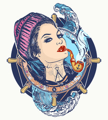 Woman sailor tattoo and t-shirt design. Pin-up style. Girl in the seaman's suit. Portrait of a sailor woman t-shirt design