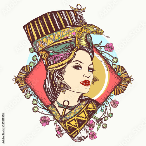 Egyptian goddess  Tattoo and t-shirt design  Ancient Egypt queen