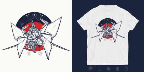 Two origami birds. Print for t-shirts and another, trendy apparel design. Symbol of love, fidelity, devotion, family