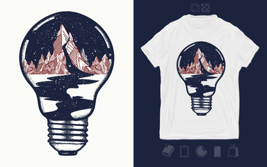 Mountains in light bulb, print for t-shirts and another, trendy apparel design. Symbol of a travel, tourism. River of stars flows from the mountains