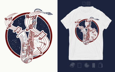 Saxophone and music notes in universe. Print for t-shirts and another, trendy apparel design