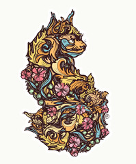 Floral cat. Tattoo and t-shirt design. Double exposure magic kitty