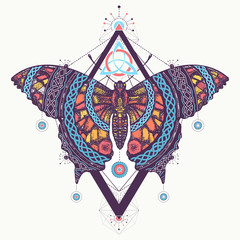 Celtic butterfly tattoo and t-shirt design. Mystical symbol of freedom, nature, tourism. Beautiful Swallowtail