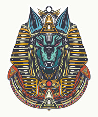 Anubis tattoo and t-shirt design. God of war, Golden Mask of the Pharaoh, symbol of next world, kingdom of dead