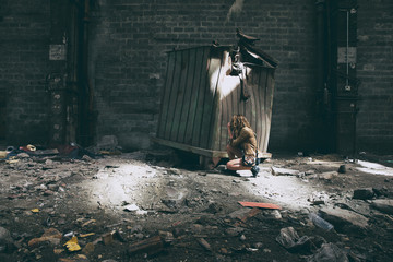 Photographer in an abandoned building