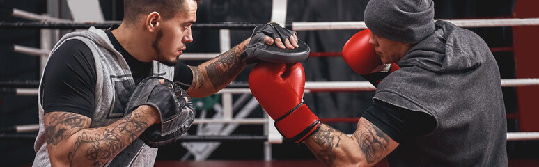 Favourite punch. Close-up of muscular athlete in red gloves training on boxing paws with partner in boxing gym, horizontal photo