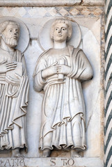 Bas-relief representing the Saint Thomas the Apostle, Cathedral of S.Martino in Lucca, Italy