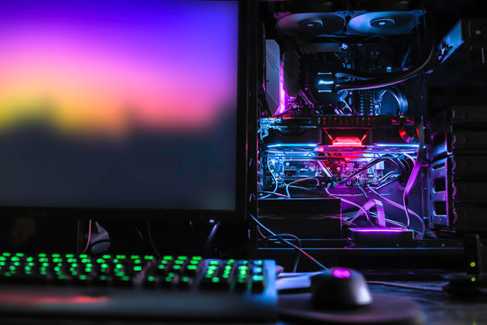 liquid cooling high-end desktop pc for mining gaming rendering