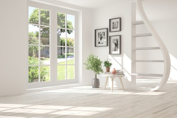White stylish empty room with summer landscape in window. Scandinavian interior design. 3D illustration