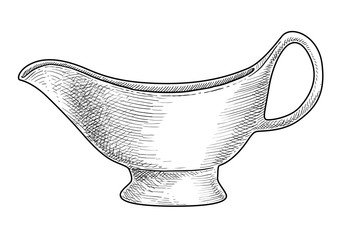 Sauce boat, gravy boat illustration, drawing, engraving, ink, line art, vector