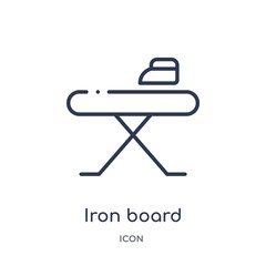 iron board icon from tools and utensils outline collection. Thin line iron board icon isolated on white background.
