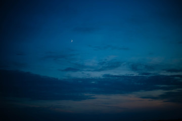 Evening sky with moon. Texture
