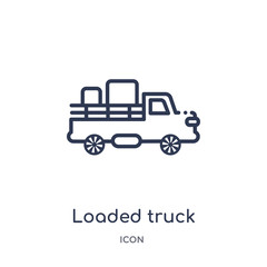 loaded truck side view icon from transport outline collection. Thin line loaded truck side view icon isolated on white background.
