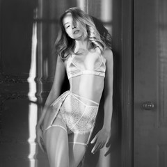 Printed roller blinds womenART Fashion art photo of beautiful sensual woman in sexy lingerie