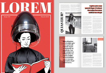 Magazine Layout with Red Accents
