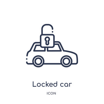 locked car icon from transport outline collection. Thin line locked car icon isolated on white background.