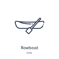 rowboat icon from transport outline collection. Thin line rowboat icon isolated on white background.