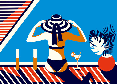 Vector illustration in retro style. A girl in a hat sits by the pool, sunbathes and relaxes on a sunny summer day