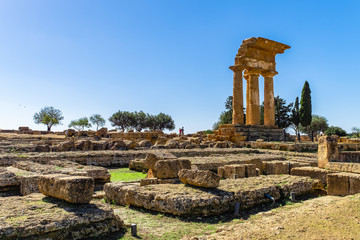Ancient architecture and Ruins of Greek Temple near Agrigento, Sicily