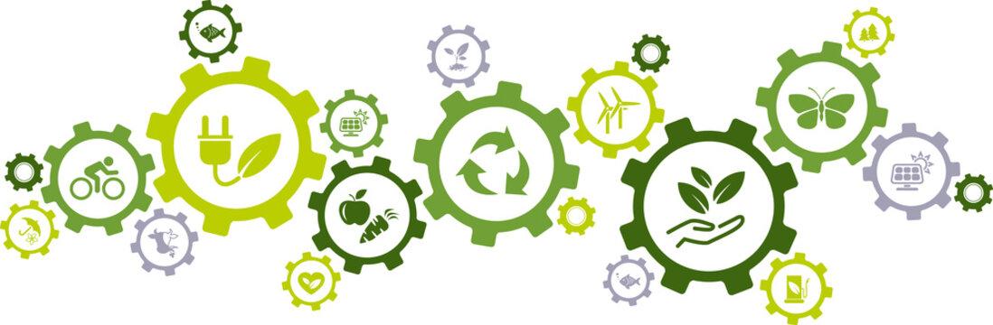 environmental consciousness / environmental challenges vector illustration
