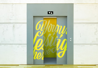 Elevator with Opening Doors Mockup