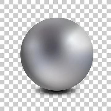 Chrome matt metal ball realistic isolated. Spherical 3D orb. Jewelry gemstone. Vector Illustration.