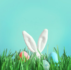 Easter funny bunny on green grass with easter eggs.