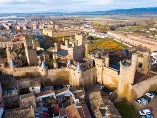 Towers of castle Palacio Real de Olite. Spain