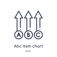 abc item chart icon from user interface outline collection. Thin line abc item chart icon isolated on white background.