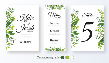 Wedding Invitation, menu card, table number, Floral design with green watercolor fern leaves, foliage greenery decorative frame print. Vector elegant cute rustic greeting, invite, postcard