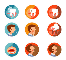 Set of icons with tooth problems