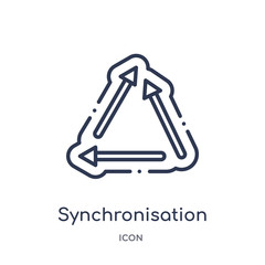 synchronisation icon from user interface outline collection. Thin line synchronisation icon isolated on white background.