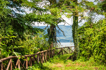 Green summer park with path and railing in Punta del Lago with Vico lake Terni province with nobody landscape day view