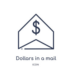 dollars in a mail icon from user interface outline collection. Thin line dollars in a mail icon isolated on white background.