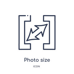 photo size icon from user interface outline collection. Thin line photo size icon isolated on white background.