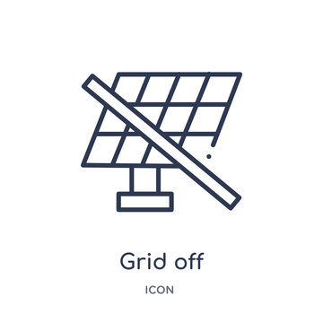 grid off icon from user interface outline collection. Thin line grid off icon isolated on white background.