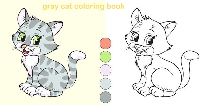 Coloring book gray cat. Cute cartoon character.
