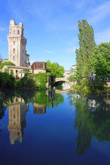 Day view of the landmark Specola Tower astronomical observatory, part of the old Castle of Padua in Padova, Italy