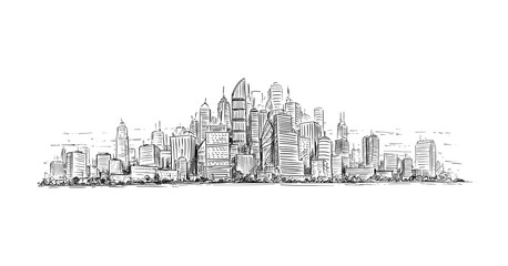 Artistic sketchy pen and ink drawing illustration of generic city high rise cityscape landscape with skyscraper buildings.