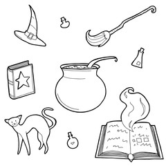 Vector illustration of magic design elements set. Hand drawn, doodle, sketch magician collection.