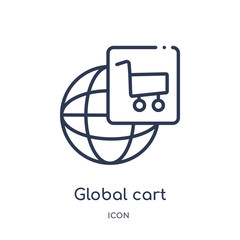 global cart interface icon from user interface outline collection. Thin line global cart interface icon isolated on white background.