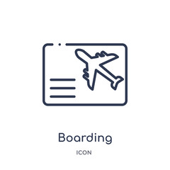 boarding icon from weapons outline collection. Thin line boarding icon isolated on white background.